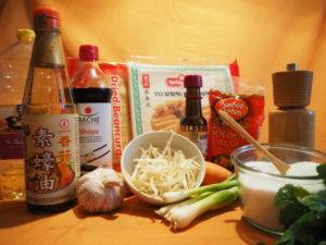 Zutaten für Vegisto's vegane Frühlingsrollen mit Gemüse
